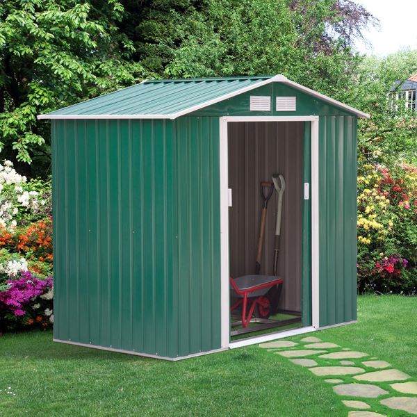 Outsunny Garden Storage Shed w/ Floor Foundation Outdoor Green|AOSOM.CA