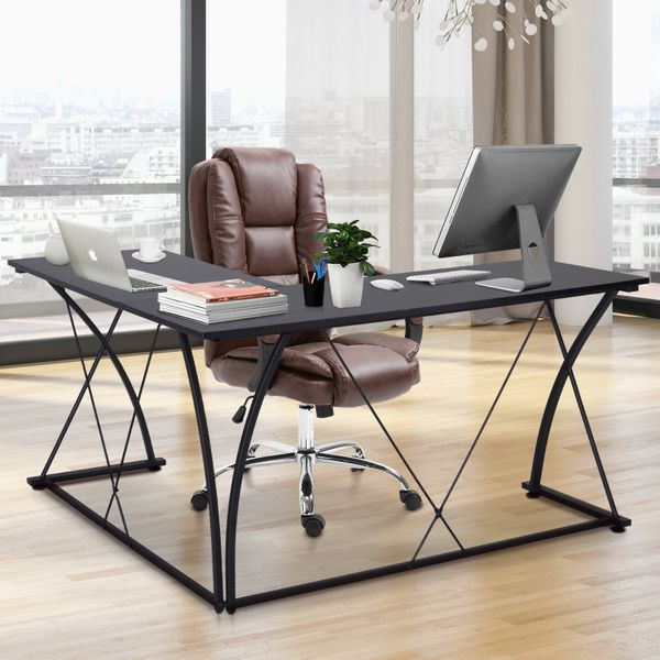 Vinsetto L Shape Computer Desk Eco-Friendly Wood & Metal Corner Display Table Minimalist Easy Assembly|Aosom Canada
