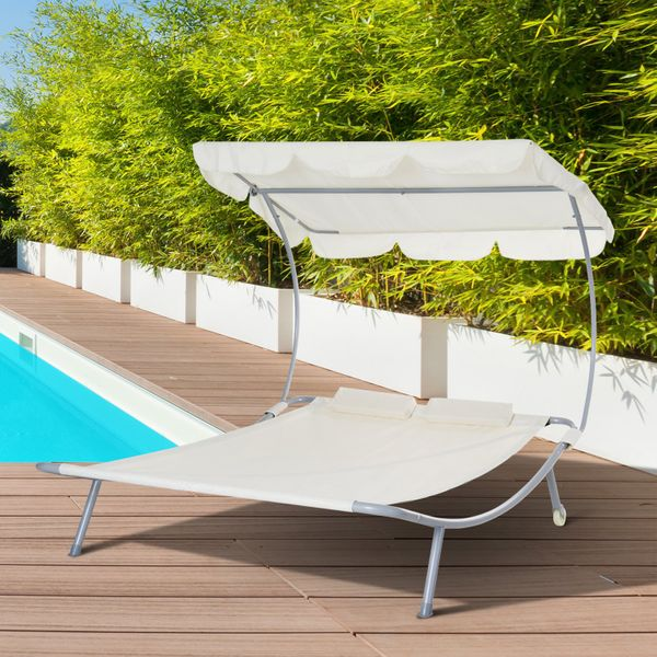 Outsunny Double Chaise Outdoor Lounge Bed with Canopy and Headrest Pillow  Portable Patio Sunbed Hammock Lounger  Cream White Sun Chair | Aosom Canada