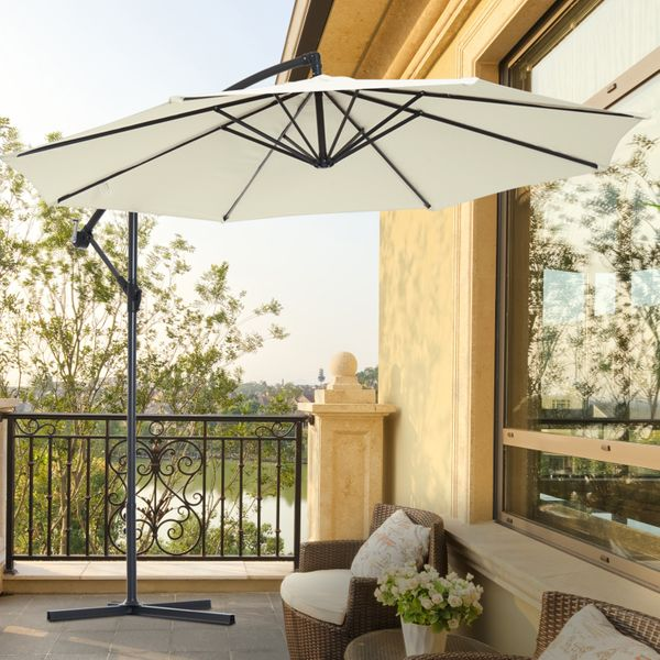 Outsunny Offset Umbrella Home Depot Φ10' Deluxe Patio Umbrella Outdoor Market Parasol Banana Hanging Offset Sunshade Beige | Aosom Canada
