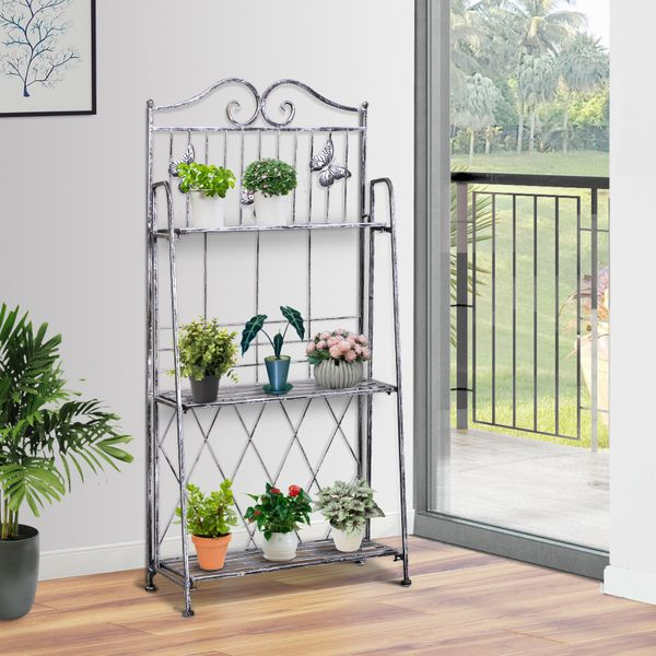 Outsunny 3-Tier Metal Plant Stand Shelf Foldable Garden Flower Display Rack Home Yard Storage Unit Indoor Outdoor Silver Grey|Aosom Canada