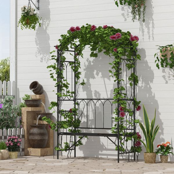 """Outsunny 80"""" Fairy Garden Arbor Arch with Bench Metal Outdoor Plant Climbing Support Trellis with 2 Seater Bench for Rose Vines Black"""
