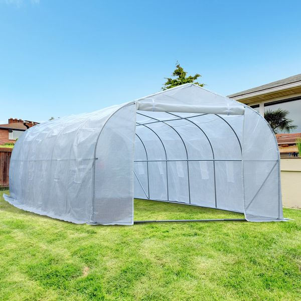 Outsunny 26'L x 10'W x 6.5'H Large Outdoor Heavy Duty Walk-In Greenhouse Steel Frame White|AOSOM.CA