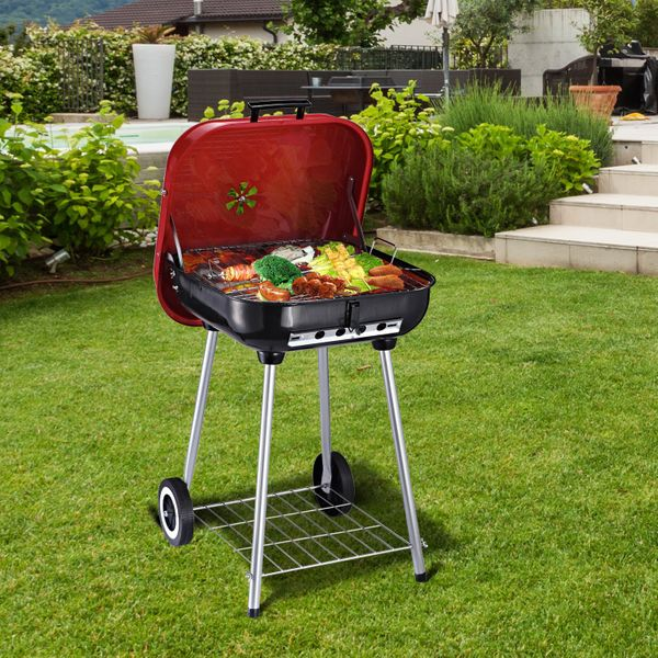 Outsunny Original Kettle Charcoal Barbecue Outdoor BBQ Grilling Camping Cooking | Aosom Canada