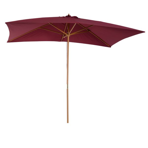 Outsunny 7'x10' Wooden Rectangle Market Patio Sun Umbrella Garden Parasol Outdoor Sunshade Canopy (Wine Red)|Aosom.ca