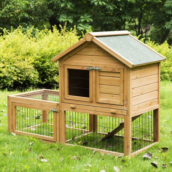 PawHut Wood Rabbit Hutch Portable Backyard Bunny Small Animal House with Outdoor Run | Aosom Canada