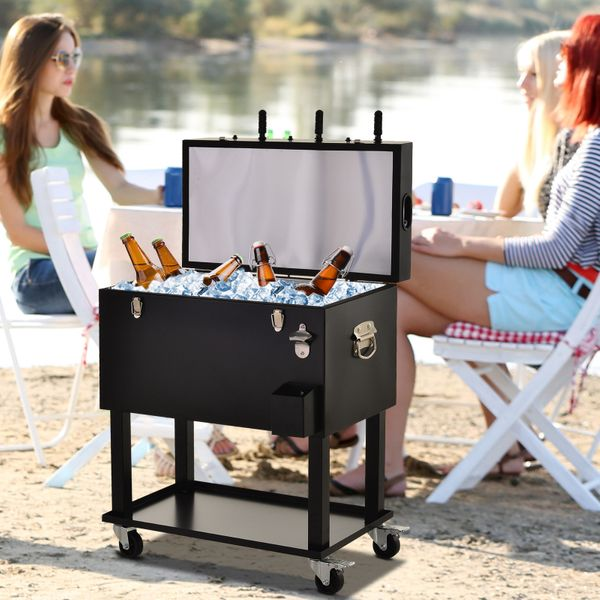 Outsunny 65L Patio Cooler Ice Chest with Foosball Table Top, Portable Poolside Party Bar Cold Drink Rolling Cart on Wheels with Tray Shelf Black