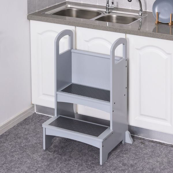Qaba Step Stool with 2 Steps Support Handles and Non-Slip Hardwood Stepping Stool for Adults Kids and Toddlers Kitchen Helper Kids Footstool Grey Height | Aosom Canada