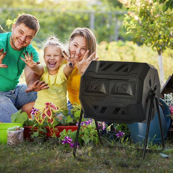 Outsunny Tumbling Compost Bin Outdoor Dual Chamber 360° Rotating Composter 43 Gallon w/ Sliding Doors & Solid Steel Frame, Black