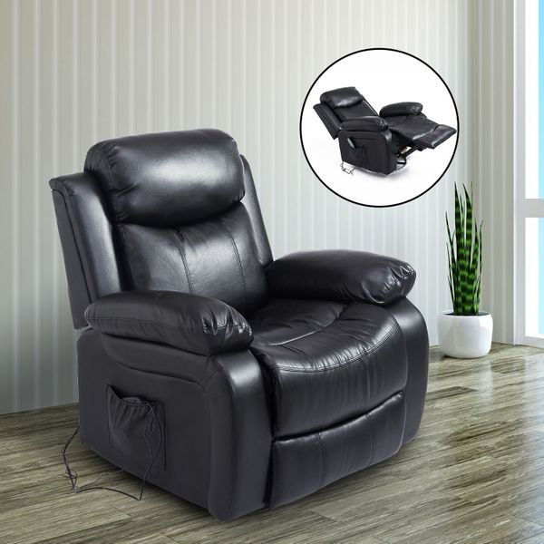 HOMCOM Deluxe Electronic Heated Massage Sofa Recliner Chair Leather Lounge Black|AOSOM.CA