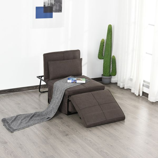 HOMCOM 4 in 1 Multi Function Sofa Bed  Sleeper Lounger with Adjustable Backrest