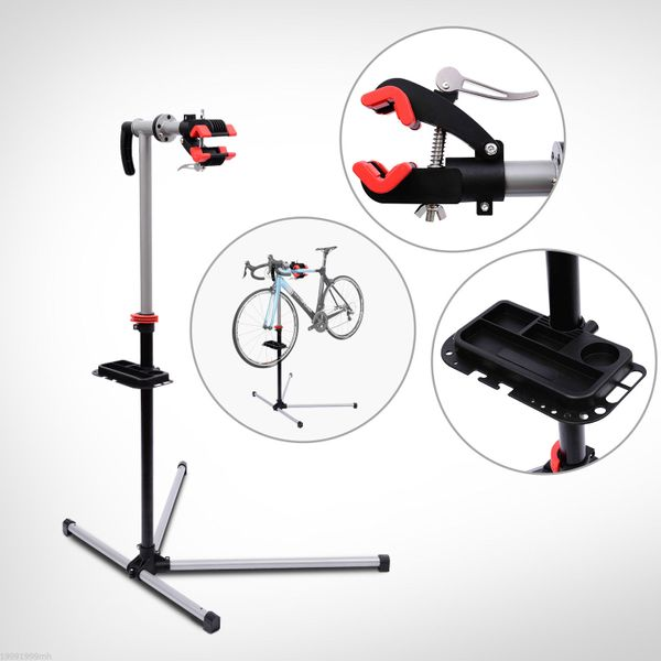 "HOMCOM Bicycle Repair Stand 47"" To 75"" Adjustable Tool Tray Bicycle Cycle Rack Work Mechanic