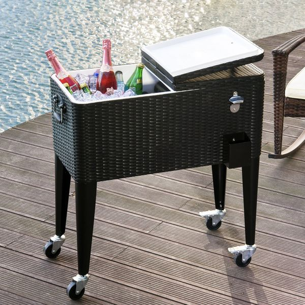 Outsunny Portable Rolling Cooler Cart Ice Chest Rattan Wicker 80 Quarts