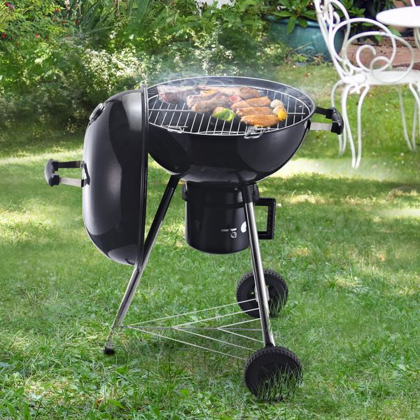 Outsunny Charcoal BBQ Grill Portable Outdoor Camp Picnic Barbecue w/ Wheels and Storage Shelves