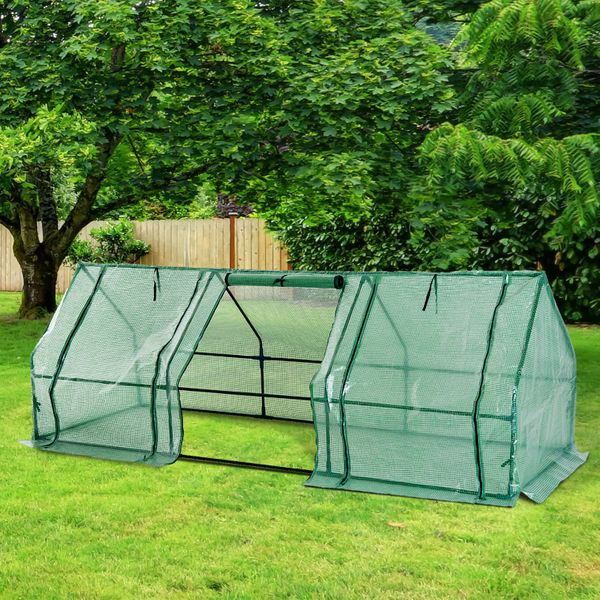 Outsunny Portable Greenhouse Tunnel - Durable - Solid Steel - Dark Green | Aosom Canada