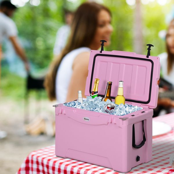 Outsunny 50 Quart Heavy Duty Ice Cooler Insulated Cooling Box Pink