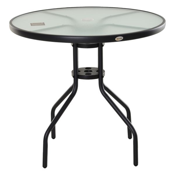 Outsunny Bistro Table Outdoor Round Dining Coffee Table Tempered Glass Top  Side Table Patio Garden - 31.5'' Diameter w/ Parasol Hole | Aosom Canada