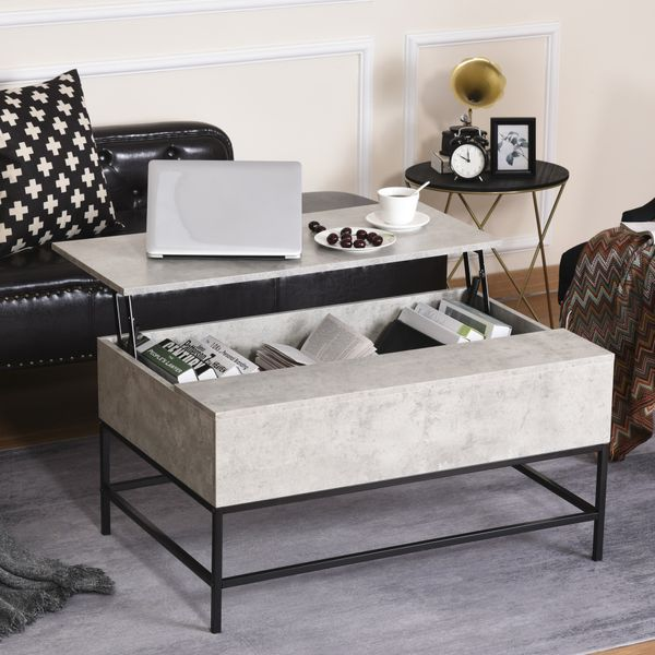 HOMCOM Lift Top Coffee Table with Hidden Storage Compartment Lift Tabletop Dining Table for Living Room  Faux Marble