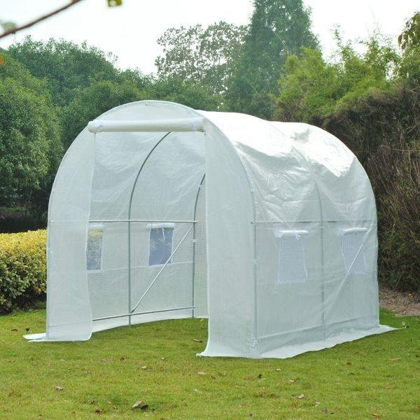 Outsunny 8.2'x6.6'x6.6' Walk-in Tunnel Greenhouse Portable Garden Plant Growing House with Door and Ventilation Window White|Aosom.ca
