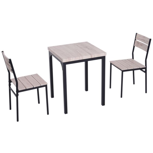HOMCOM 3pcs Wooden Dining Set Industrial Style Wood and Metal Kitchen Table Set for 2 Chairs Modern and Sleek Dinette Home Furniture|Aosom Canada