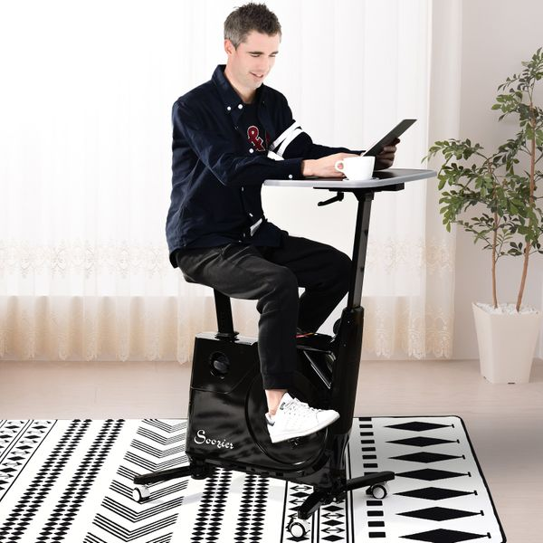 Soozier Desk Exercise Bike Home Office Indoor Recumbent Cycling Rolling with Table Top  LCD Monitor|AOSOM.CA