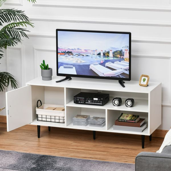 HOMCOM Modern TV Stand Cabinet with Storage Shelf, Cable Hole, Home Entertainment Unit Center, for Living Room Bedroom, White
