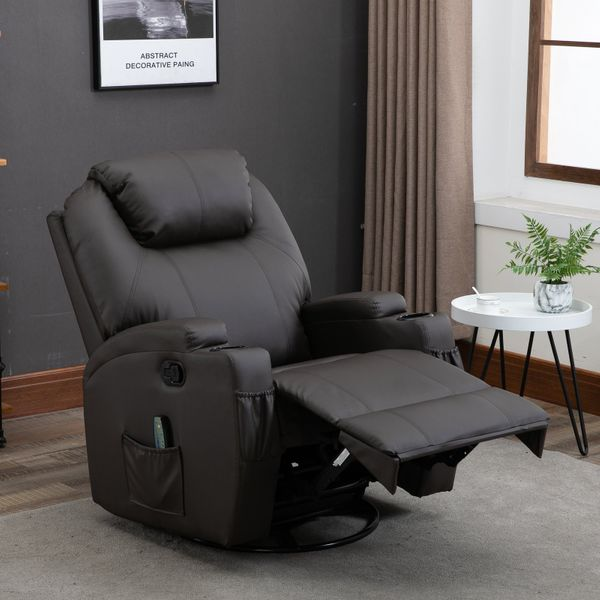 HOMCOM Faux Leather Recliner Chair with Massage Vibration Muti-function Padded Sofa Chair with Remote Control 360 Degree Swivel Seat with Dual Cup Holders Brown | Aosom Canada