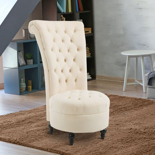 "HOMCOM 45"" Tufted High Back Velvet Accent Chair Living Room Soft Padded Couch Lounge Cream White 