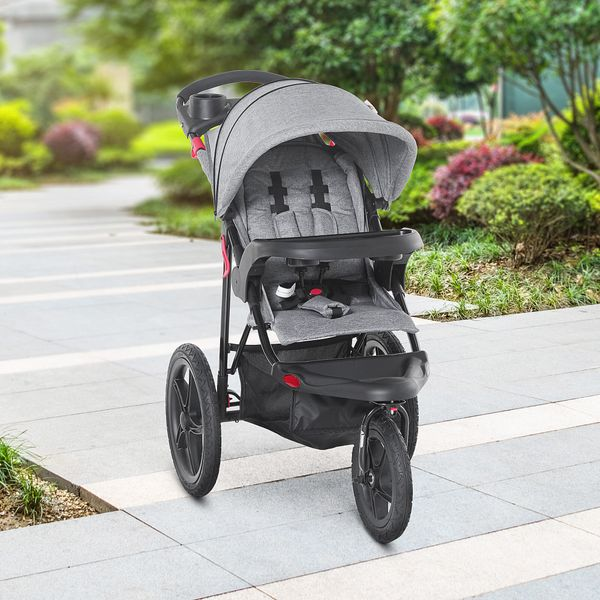 Qaba Baby Stroller Foldable Carriage for Toddler with Adjustable Backrest and Canopy Suspension System Rubber Tire 5-Point Harness Cup Holder Storage Basket Grey Bassinet w/ | Aosom Canada