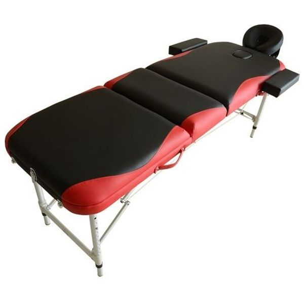 "HOMCOM 73"" 3 Section Foldable Massage Table Professional Salon Spa Facial Couch Bed (Black/Red)