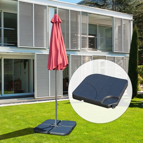 Outsunny 4pc Umbrella Weight Base Plastic Sand Water Filled Garden Outdoor Heavy