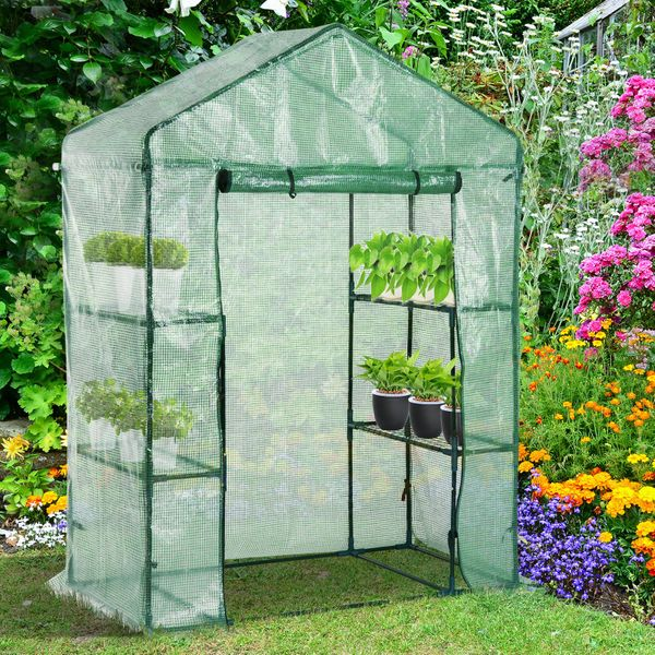 Outsunny Walk-in Plant Greenhouse Portable Garden Flower Seed Warm House w/ 2 Tier 4 Shelves Green | Aosom Canada
