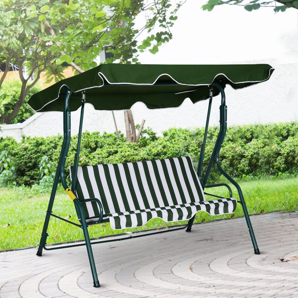 Outsunny Outdoor 3-person Metal Porch Swing Chair Patio Garden Poolside Stripes