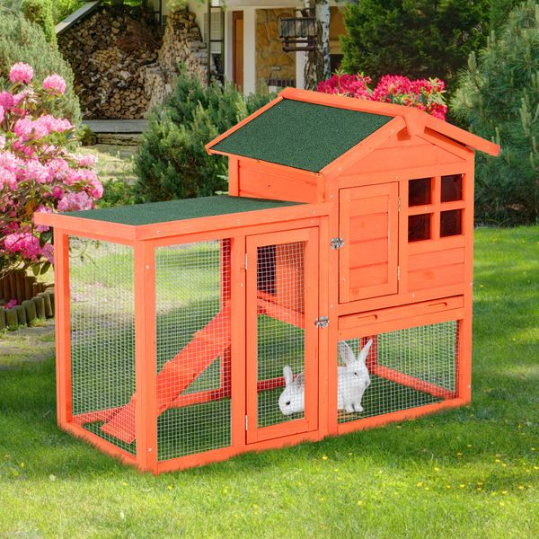 "Pawhut 48"" x 24"" 36"" Deluxe Waterproof Wooden Rabbit House w/Outdoor Garden Run  Orange