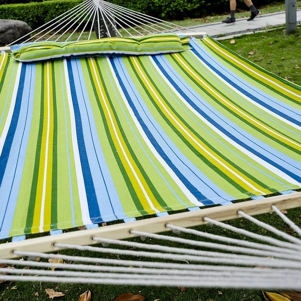 "Outsunny 83"" Large Hammock Bed Striped Fits 2 People Sun Bed Camping hang Sleep w/ Pillow