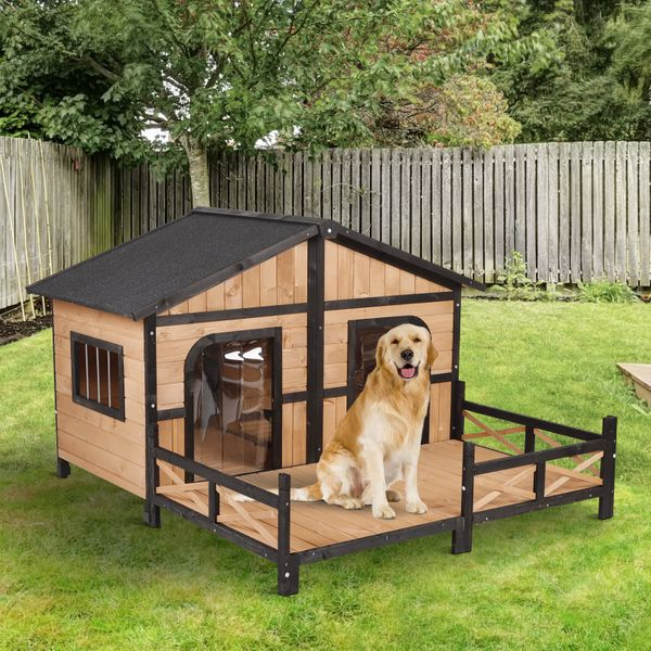 "PawHut Wooden Large Dog House  Perfect for the Porch or Deck and Includes Bottom Slide-Out Tray  59"" L  Natural Wood Color Raised Outdoor Patio Waterproof Insulated Style 