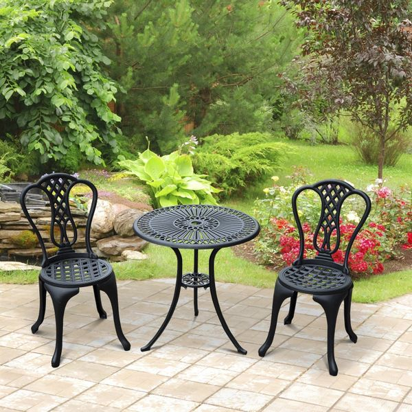 Outsunny Garden Cast Aluminum Cafe Bistro Set Outdoor Furniture Table & Chairs|Aosom.ca