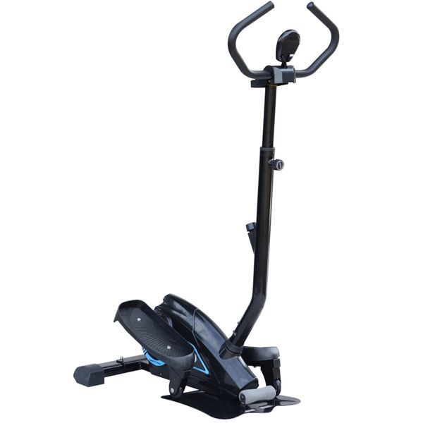 Soozier Magnetic Stepper Elliptical Machine with Adjustable Handlebar Cardio Workout Glider Trainer w/ LCD Monitor|Aosom Canada