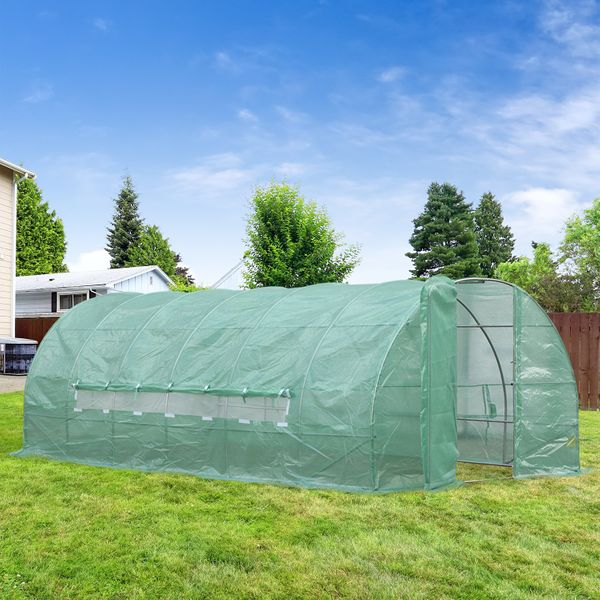 Outsunny 20x10x6.6ft Heavy Duty Outdoor Walk-in Greenhouse Portable Garden Planting Warm House with PE Cover Green|Aosom.ca