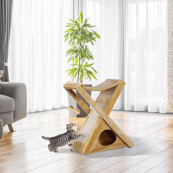 PawHut Fold-and-Store Cat Tower Kitty Activity Tree Center Scratcher Cave Hammock w/Hanging Balls Yellow|Aosom Canada