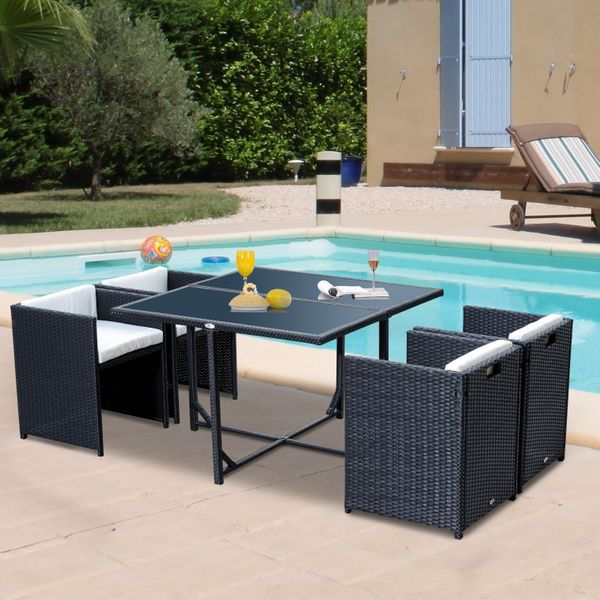 Outsunny 5pcs Rattan Wicker Dining Sofa Table Set Outdoor Patio Furniture with Cushion, Black