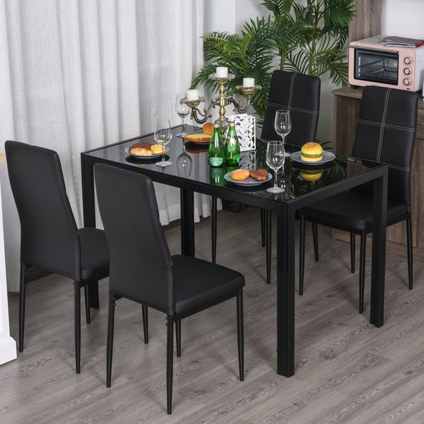 Homcom 5 Piece Kitchen Dining Table Set With 4 Faux Leather Metal Frame Chairs Glass Tabletop