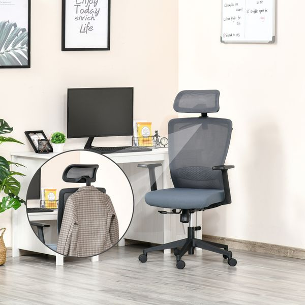 Vinsetto Mesh Office Chair with Lumbar Back Support High Back Swivel Task Chair, Adjustable Height Head Pillow, Blue Grey