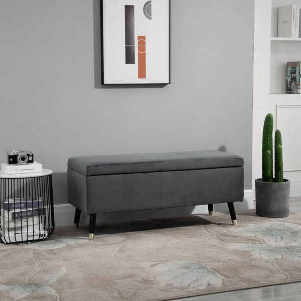 HOMCOM Deluxe Storage Ottoman Bench Footrest Stool Large Storage Space