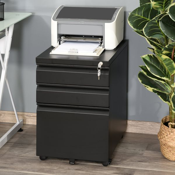 Vinsetto Metal 3 Drawer Mobile Locking Filing Cabinet Under Desk On Wheels for Legal & Letter Files  Black | Aosom Canada