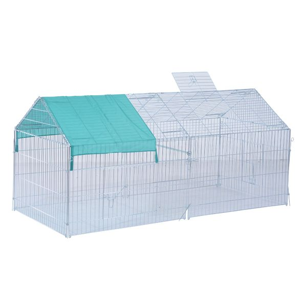 """PawHut Large Rabbit Playpen 86.5"""" x 40.5"""" Small Animal Enclosure Rabbit Dog Pet Bunny Metal Cage Outdoor Play Run with Cover Green
