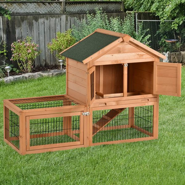 PawHut Wood Rabbit Hutch Bunny Small Animal House Portable with Outdoor Run