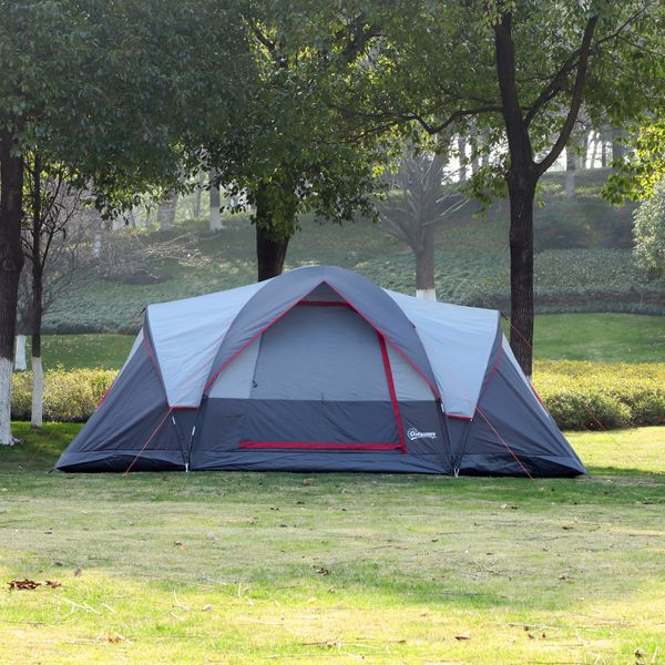Outsunny Outdoor 3-Room Camping Tent For 5-6 W/ Build-in Bag  Lighting Hook  Carrying Bag & | Aosom Canada