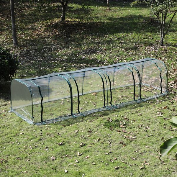 Outsunny Transparent PVC Tunnel Greenhouse Portable Warm Shed Steel Frame | Aosom Canada
