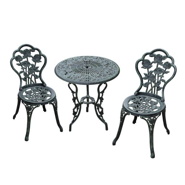 Outsunny 3pc Patio Bistro Set Table Chair Outdoor Garden Balcony Furniture Indoor Cafe Table and Chairs Set Iron Aluminum Antique Green | Aosom Canada